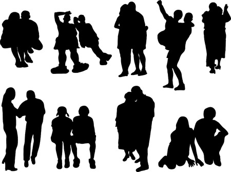 darling: Silhouettes of the couples Illustration