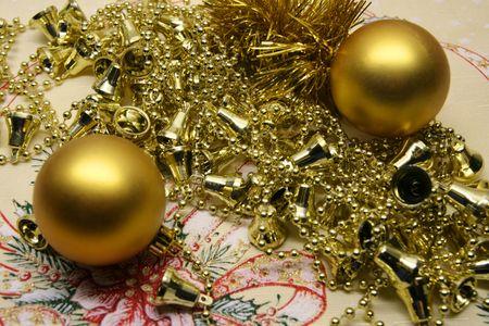 Christmas dekoration on the tablecloth photo