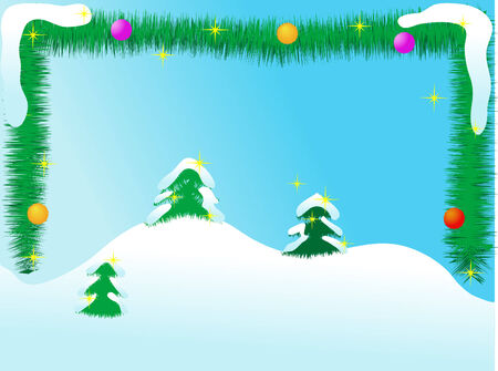 Landscape with garland and the trees Stock Vector - 2167276