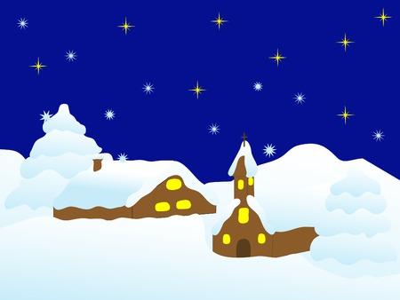 Winter small village in the night Stock Vector - 2175929
