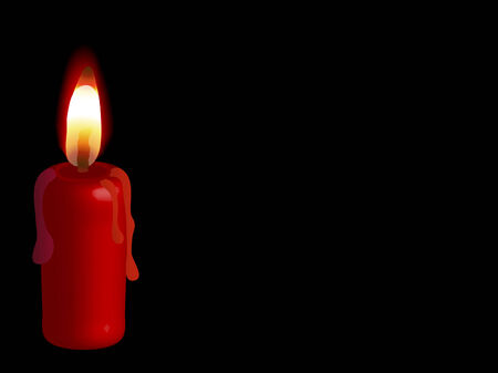 Red candle on the black background Vector