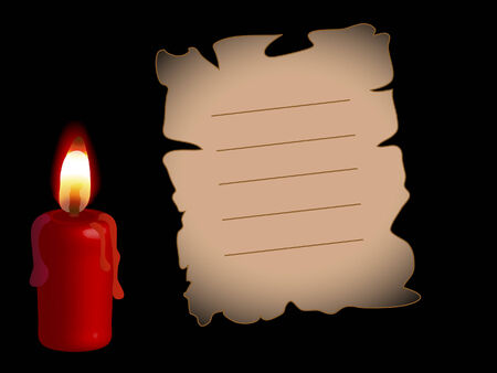 Charred paper with the candle Vector