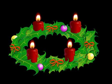 Advent wreath on the black background photo