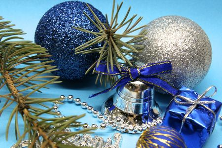 Blue and silver christmas decoration photo
