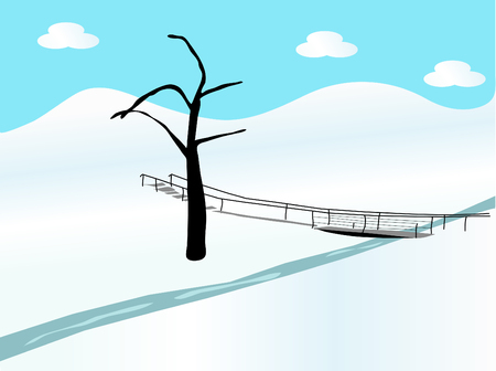 footbridge: Winter landscape with the brook Illustration