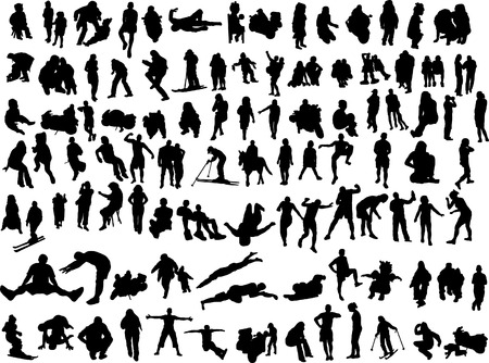 100 silhouettes of the people Vector