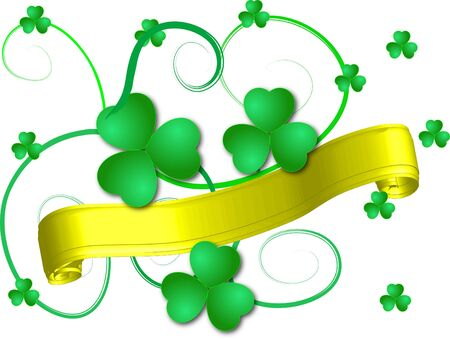 quarterfoil: Green shamrocks with the banner Stock Photo