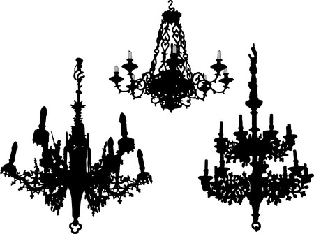 lamp silhouette: Three old chandeliers - vector illustration Illustration