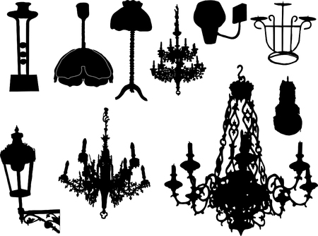 Lamps,candlesticks on the white background Vector