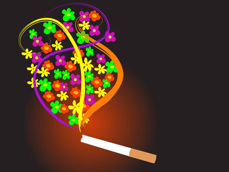 detrimental: Cigarette with flowers Illustration
