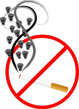 detrimental: Cigarette with skulls