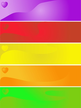 Colorful love banners with hearts Stock Vector - 2346338