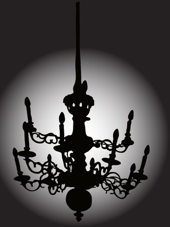 Silhouette of the baroque chandelier Stock Vector - 2346340