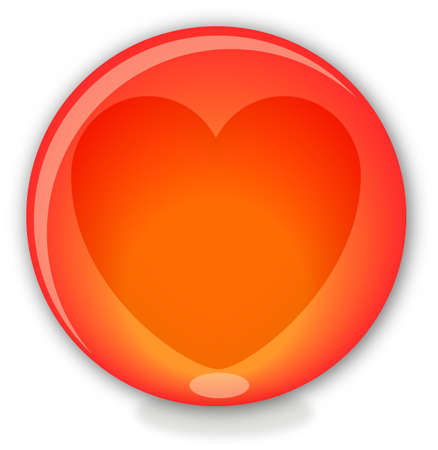 Red glass ball with heart photo