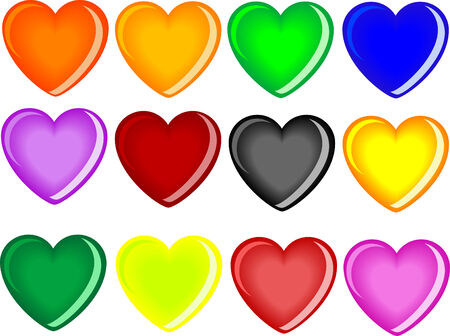 Colorful glass hearts on white Vector