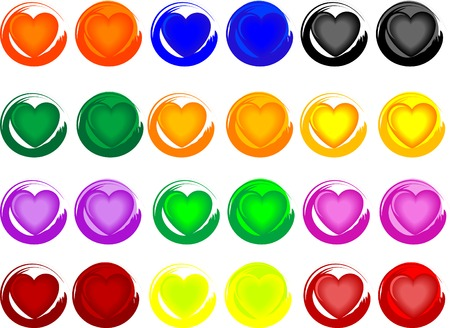 Colorful heart buttons on white Stock Vector - 2356465