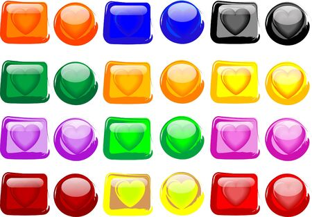 Colorful hearts glass buttons Stock Photo - 2367516