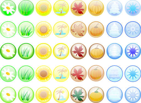 Forty glass seasonal buttonson white Stock Photo - 2367527