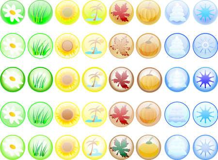 Forty glass seasonal buttonson white Stock Photo - 2367527