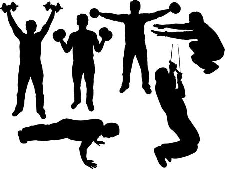 weights: La condizione di uomo grasso del corpo Vettoriali