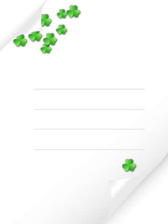 quarterfoil: Bended paper with green shamrocks Stock Photo