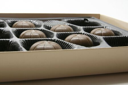 bonbonniere: Chocolate bonbons in the bonbonniere Stock Photo