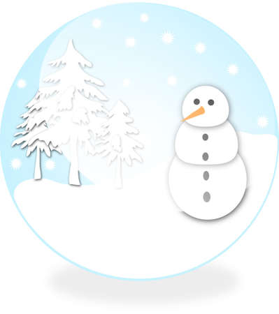 Snowman in the blue ball Stock Photo - 2419910