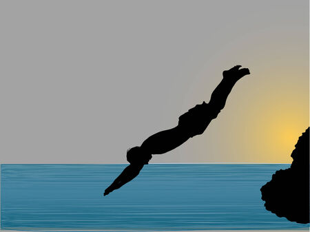 grit: Water jump in the evening Illustration