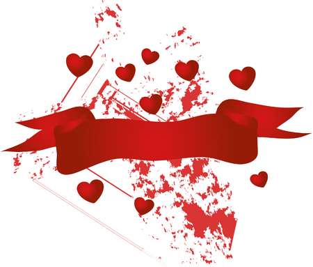 Valentine banner with red hearts Vector