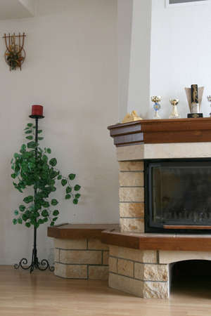 hearth and home: Home interior with the  hearth