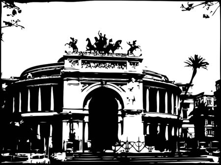 cupola: Vector illustration of Opera house in Palermo