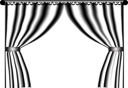 Black and white curtain - vector Vector