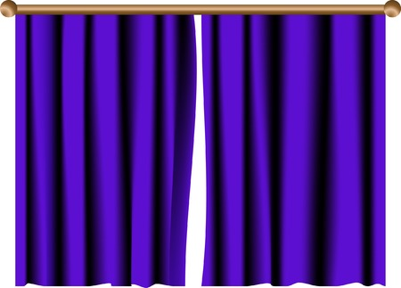 Blue curtain with wooden rail Vector