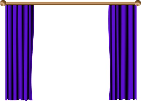 Open blue curtain with wooden rail Vector