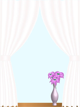 window sill: Window with curtain and flowers Illustration