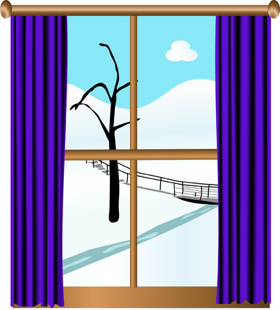 footbridge: Winter landscape behind the window Illustration