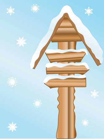 Vector illustration of the snowy signpost Stock Vector - 2757980