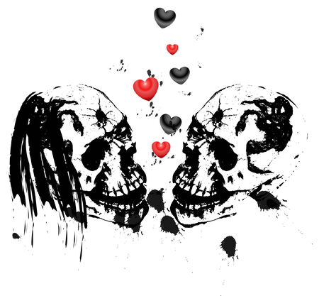 love dome: Vector illustration of two skulls