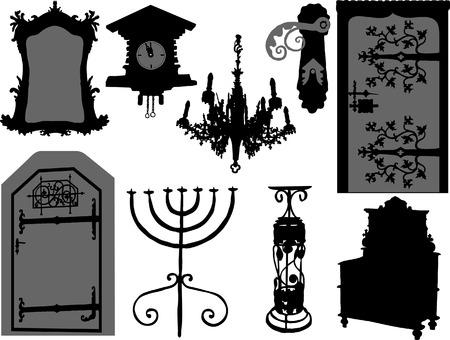 puertas de cristal: Vector conjunto de elementos antiguos  Vectores