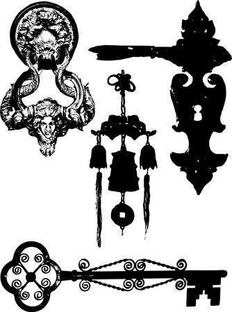 tocar la puerta: Cuatro siluetas de puerta elementos  Vectores