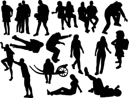 silhouette contour: Vector silhouettes of the people