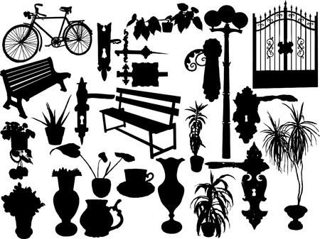 Silhouettes of different objects - vector Vector