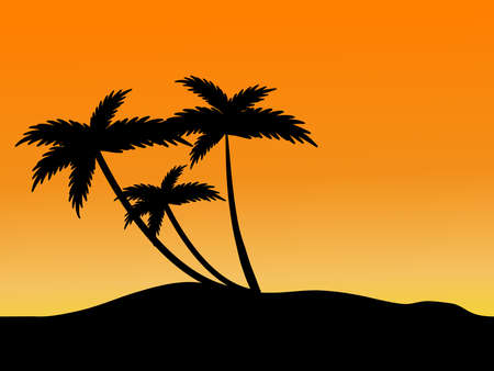 Sunset on the beach - vector Stock Vector - 2812594