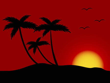 Sunset on the beach - vector Stock Vector - 2812595