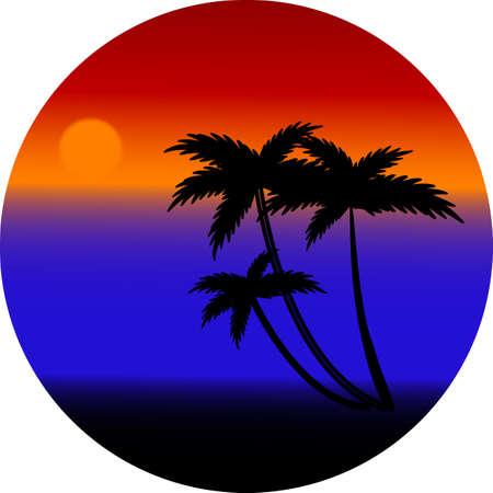 Sunset on the beach - vector Vector