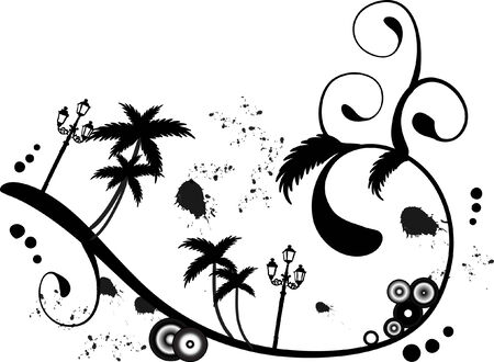 wavelet: Abstract illustration with palm trees Illustration