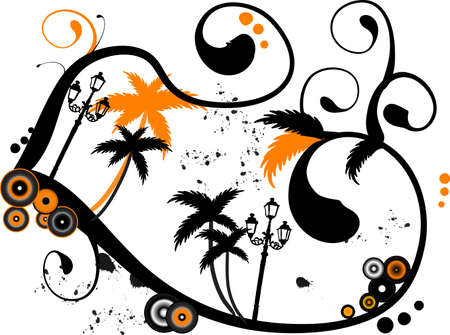 Abstract illustration with palm trees Vector