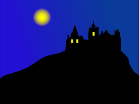 Silhouette of castle in the night Stock Vector - 2833977