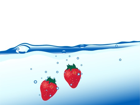 Fresh strawberries in the water Vector