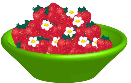 Kom met koele aardbeien Groen Vector Illustratie